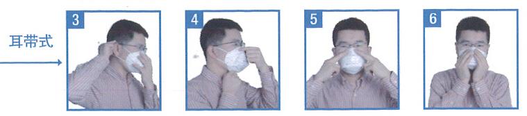 防尘口罩常用的佩戴方式有头带式和耳带式,杉本MRO小编下面详细介绍这两种佩戴方式。佩戴之前应做好以下3步:  1.取出口罩后先确认鼻央位置, 将双手食指放置在鼻夹上方,大拇指放置在鼻央下.轻轻弯曲鼻夹中心的位置。 2.双手将折叠的防护口罩上下拉开. 3.应使口罩完全拉开,直到可以看到鼻央。  1.